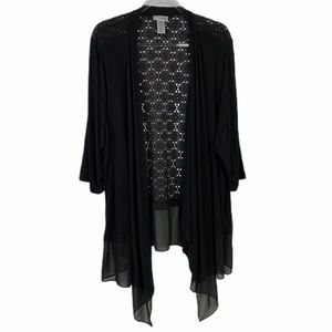 Catherines Black Lace Open Front Cover Cardigan 3X